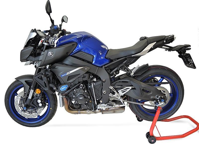 RDmoto アールディーモト ガード・スライダー クラッシュスライダー【Crash sliders】 Colour:blue aluminium anodized Colour:white polyamid MT-10 (16-)