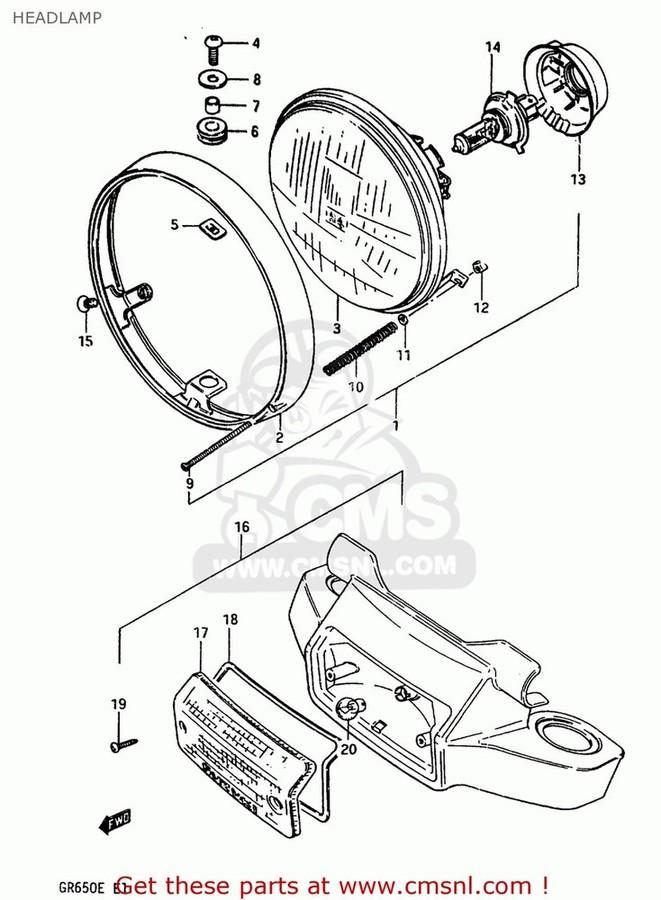 CMS シーエムエス ヘッドライト本体・ライトリム/ケース (35100-05A30-999) LAMP ASSEMBLY,HEAD GS550L 1983 (D) USA (E03)