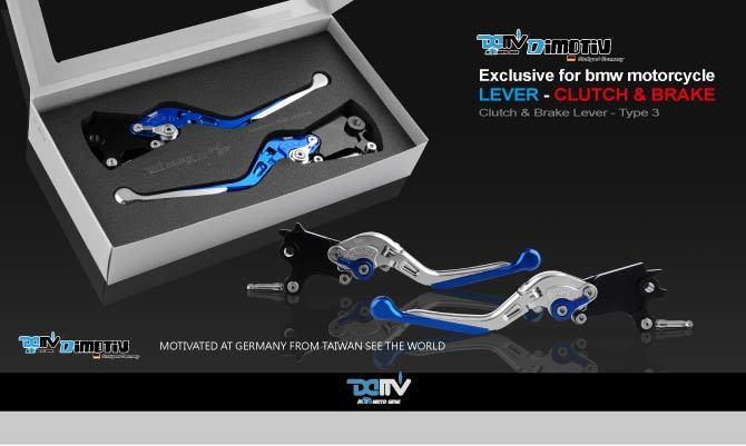 Dimotiv ディモーティヴ アジャスタブルレバー ブレーキ/クラッチセット BMW用 タイプ3 エクステンションカラー:シルバー ボディーカラー:ブラック(アジャスターカラー:ブルー)