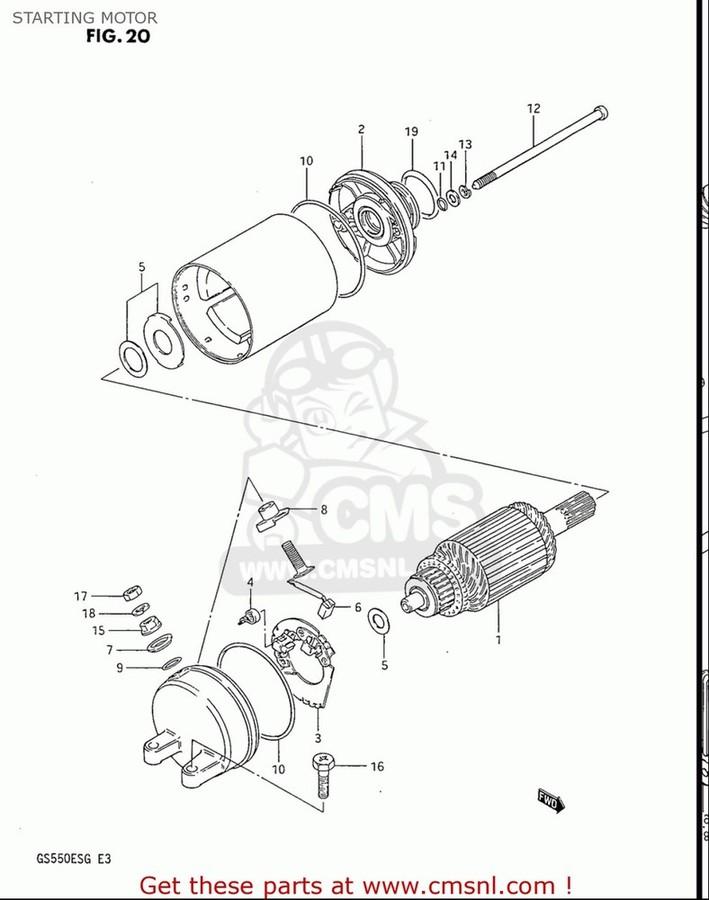 CMS シーエムエス その他電装パーツ MOTOR ASSY,STARTING GS550ES GS550ESE GS550EF GS550ESF GS550ESG 83-86 (D-G) USA (E03)