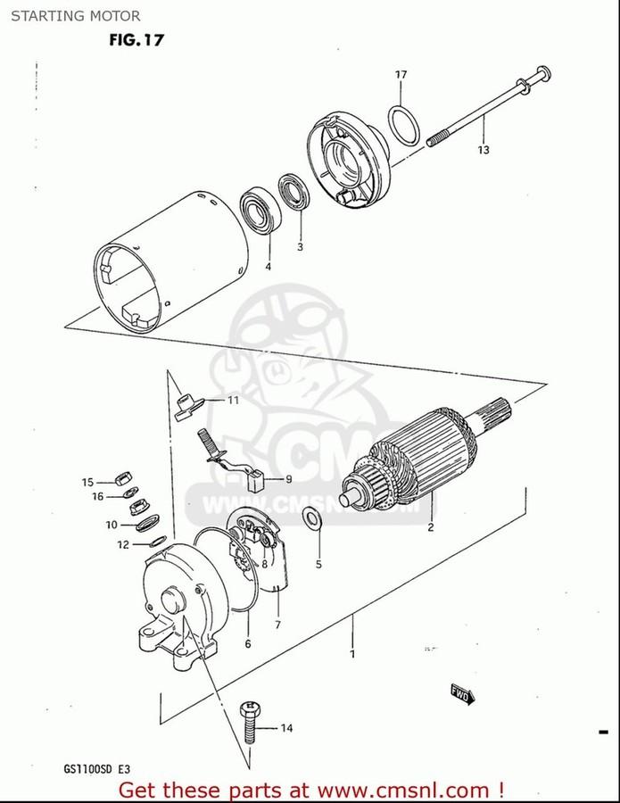 CMS シーエムエス その他電装パーツ MOTOR ASSY,STARTING GS1100S 1983 (D) USA (E03)
