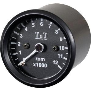 T&T ティーアンドティー タコメーター ELECTR.TACHOMETER 12.000 RPM BLACK.