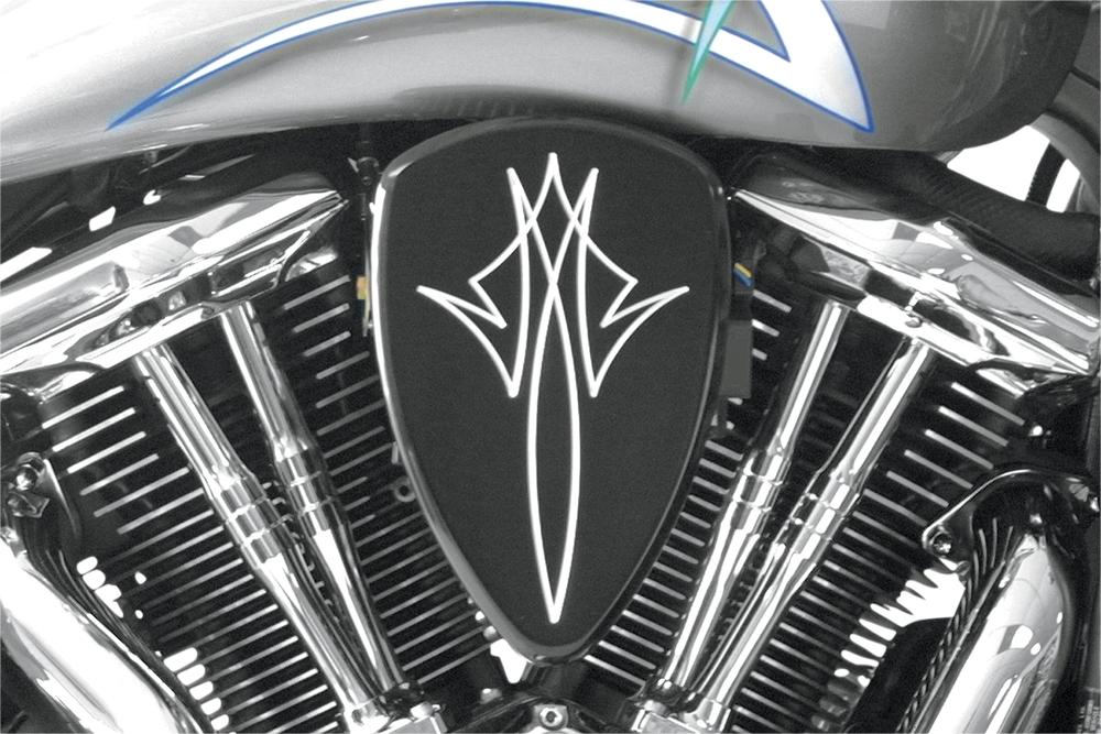 BARON バロン エアクリーナー・エアエレメント ビッグエアクリーナーキットピンストライプ XVS650用【BIG AIR KIT STP XVS650】 カラー:ブラック(アノダイズド) [1010-0650]