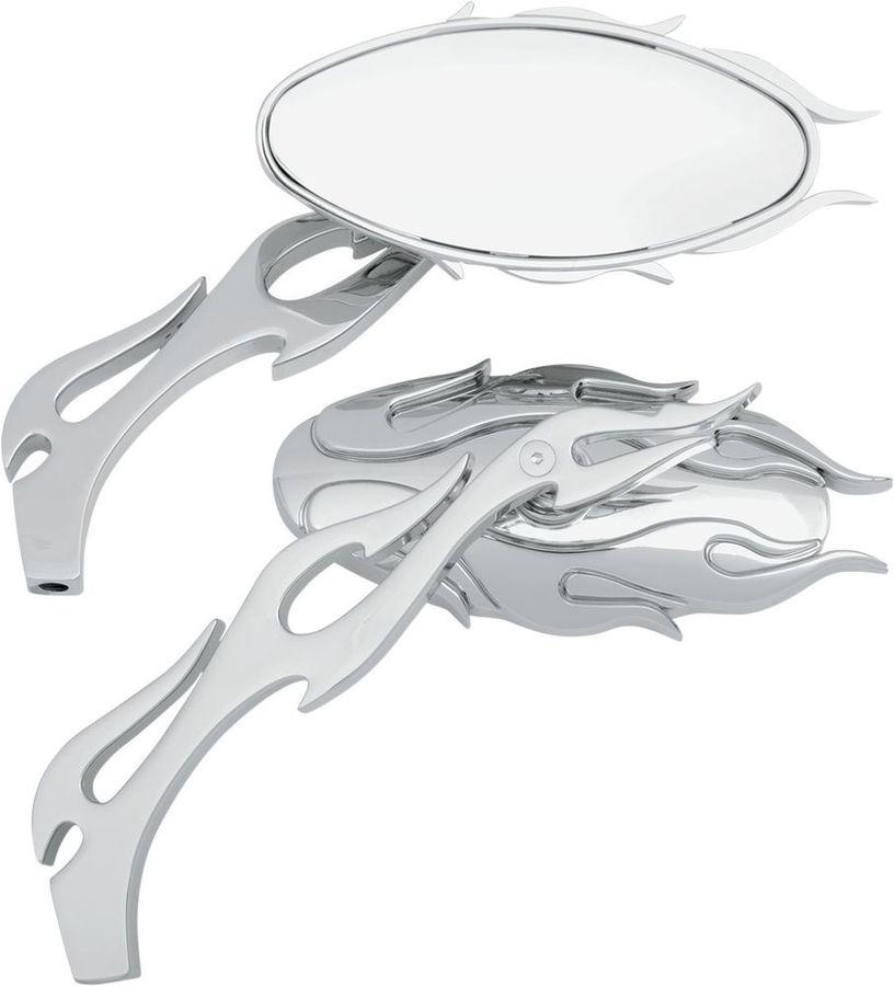 Drag Specialties ドラッグスペシャリティーズ ミラー類 ミラーセット オーバル フレイム クローム 【MIRROR OVL FLM CHR [0640-0484]】