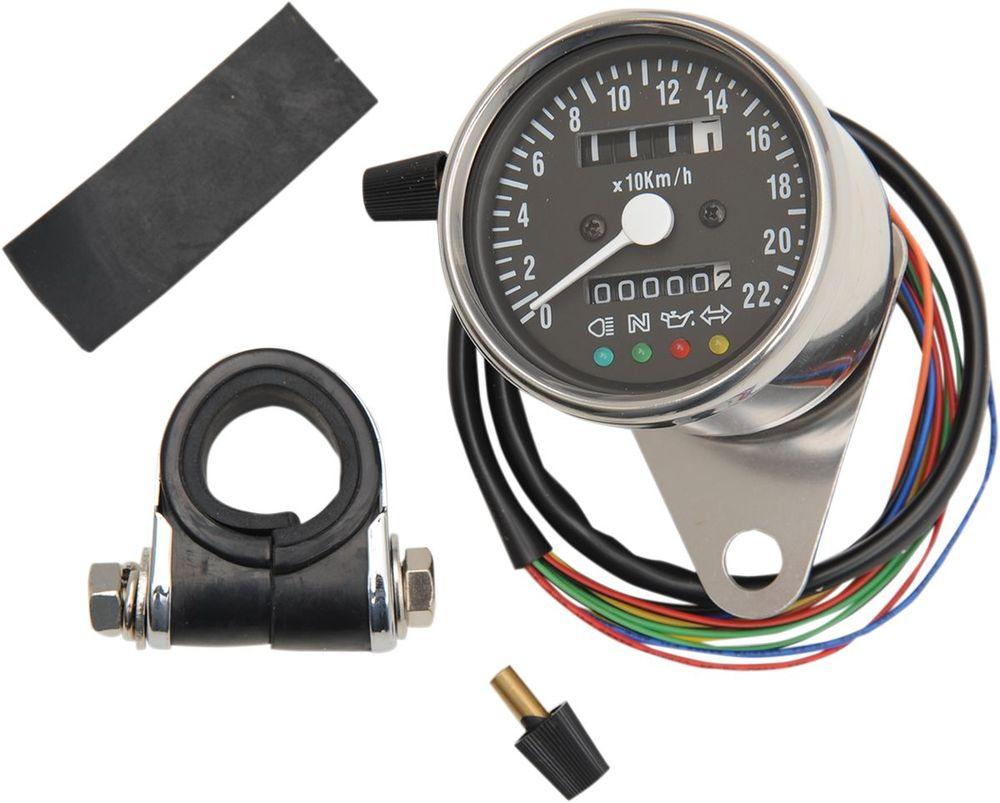 Drag Specialties ドラッグスペシャリティーズ スピードメーター 4-ランプ付き ブラック KM/H 【SPEEDO W/4 LIT BLK KM/H [2210-0207]】