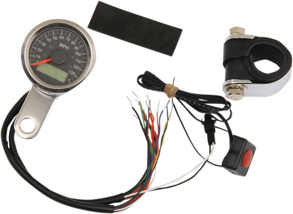 Drag Specialties ドラッグスペシャリティーズ スピードメーター 4-ランプ付き MPH ステンレス/ブラック 【SPEEDO W/4LTS MPH SS/BLK [2210-0416]】