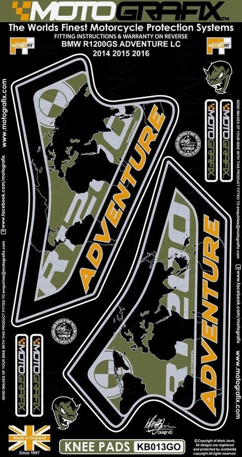 【ポイント5倍開催中!!】MOTOGRAFIX モトグラフィックス ステッカー・デカール ボディーパッド カラー:グリーン R1200 GS Adventure 14-