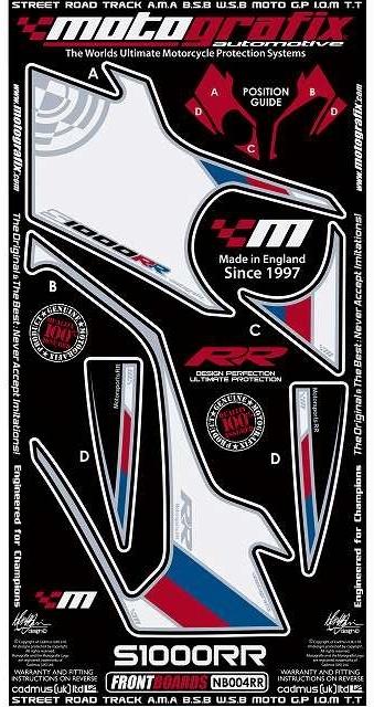 【ポイント5倍開催中!!】MOTOGRAFIX モトグラフィックス ステッカー・デカール ボディーパッド カラー:ホワイト/ブルー/レッド(MT-NB004RR) S1000RR