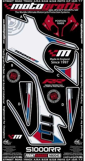 【ポイント5倍開催中!!】MOTOGRAFIX モトグラフィックス ステッカー・デカール ボディーパッド カラー:ホワイト/ブルー/レッド(MT-NB004S) S1000RR