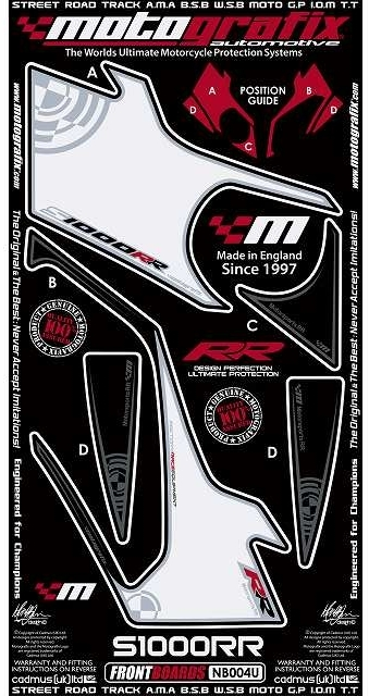 【ポイント5倍開催中!!】MOTOGRAFIX モトグラフィックス ステッカー・デカール ボディーパッド カラー:ホワイト/ブラック(MT-NB004U) S1000RR