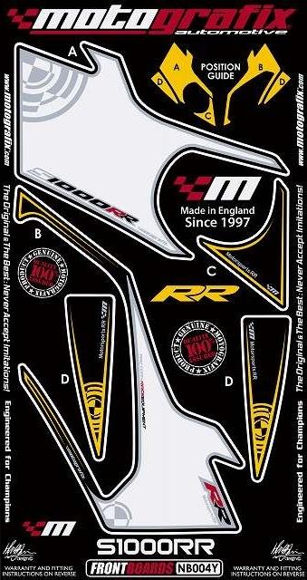 【ポイント5倍開催中!!】MOTOGRAFIX モトグラフィックス ステッカー・デカール ボディーパッド カラー:ホワイト/イエロー S1000RR