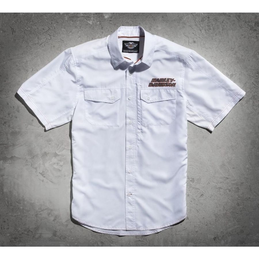 HARLEY-DAVIDSON ハーレーダビッドソン カジュアルウェア メンズ ショートスリーブ パフォーマンスシャツ ホワイト【Men's White Short Sleeve Performance Shirt】 Size:5XL