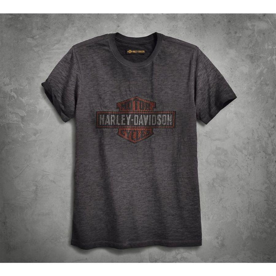 HARLEY-DAVIDSON ハーレーダビッドソン Tシャツ メンズ ロゴオーバープリント スリムフィットティー【Men's Logo Overprint Slim Fit Tee】 Size:L