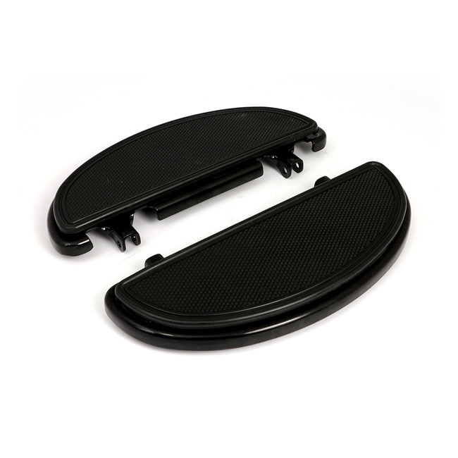 MCS エムシーエス フットペグ・ステップ・フロアボード OVAL FLOORBOARDS KNURLED RIBBED PADS COLOR:BLACK 86-17 FL SOFTAIL; 80-17 FLT/TOURING