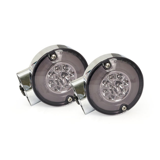 MCS エムシーエス ウインカー RINGERS FRONT LED TURN SIGNAL COLOR:CHROME 99-13 FLST; 01-13 TOURING
