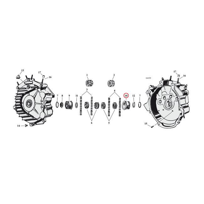 "MCS エムシーエス その他エンジンパーツ BUSHING RIGHT CRANKCASE SIZE:""+.002 INCH"" 39-73 45"" SV(NU)"