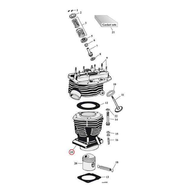 MCS エムシーエス その他エンジンパーツ シリンダーパンヘッド リア【CYLINDER PANHEAD REAR】 48-65 FL (NU)