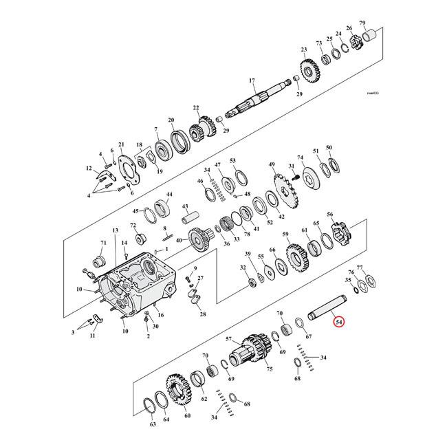 MCS エムシーエス その他エンジンパーツ COUNTER SHAFT TRANSM. 41-E79 B.T. (3 SPEED & REVERSE)