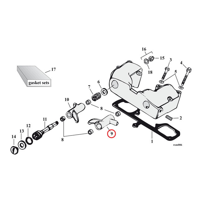 MCS エムシーエス その他エンジンパーツ ROCKER ARM POSITION:FRONT EXHAUST XL 57-85 (NU)