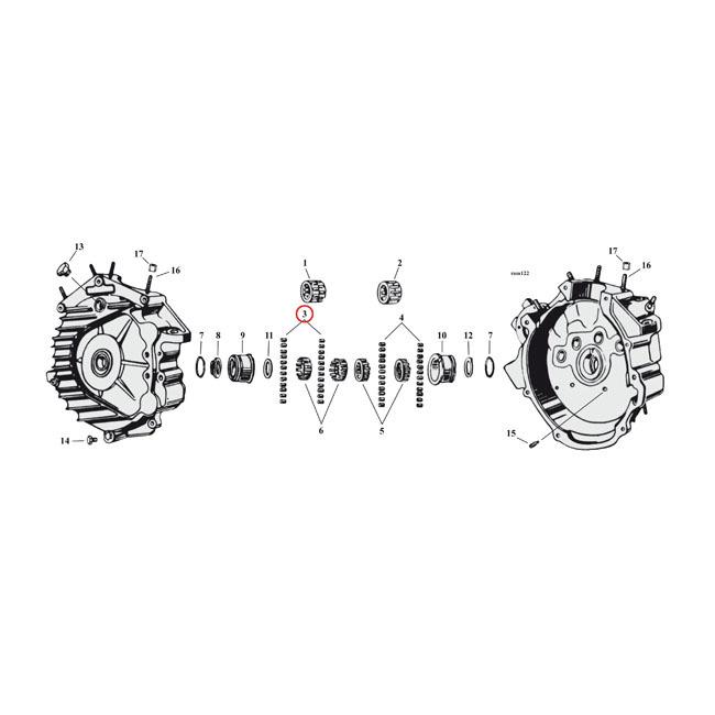 """エンジンパーツ 32-73 45"""" SV(NU) MCS エムシーエス 969326  MCS エムシーエス その他エンジンパーツ クランクケースローラー【ROLLERS CRANKCASE】 SIZE:. +.0010 INCH 32-73 45"""" SV(NU)"""