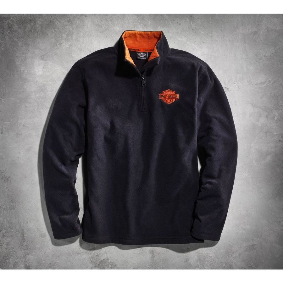 HARLEY-DAVIDSON ハーレーダビッドソン カジュアルウェア メンズ 1/4 ジップロゴ フリース ブラック【Men's Black 1/4-Zip Logo Fleece】 Size:3XL