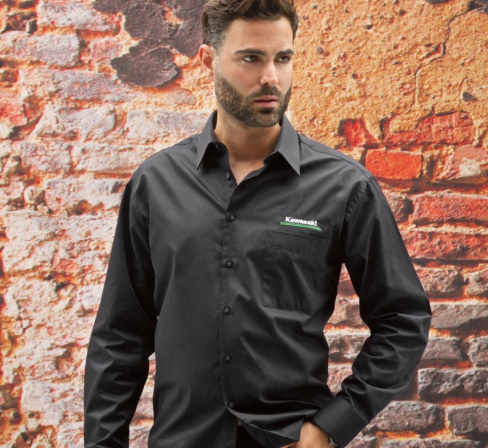 US KAWASAKI 北米カワサキ純正アクセサリー カジュアルウェア 3 グリーンライン クラシックドレスシャツ【3 Green Lines Classic Dress Shirt】 SIZE:3X