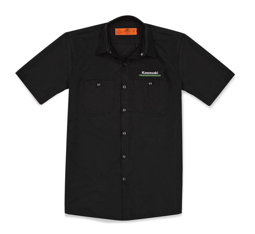 US KAWASAKI 北米カワサキ純正アクセサリー カジュアルウェア 3 Green Lines Workshirt SIZE:XL