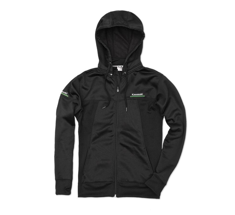 US KAWASAKI 北米カワサキ純正アクセサリー 3 グリーンライン テクニカルジップフロントスウェットシャツ フード付き【3 Green Lines Technical Zip-Front Hooded Sweatshirt】