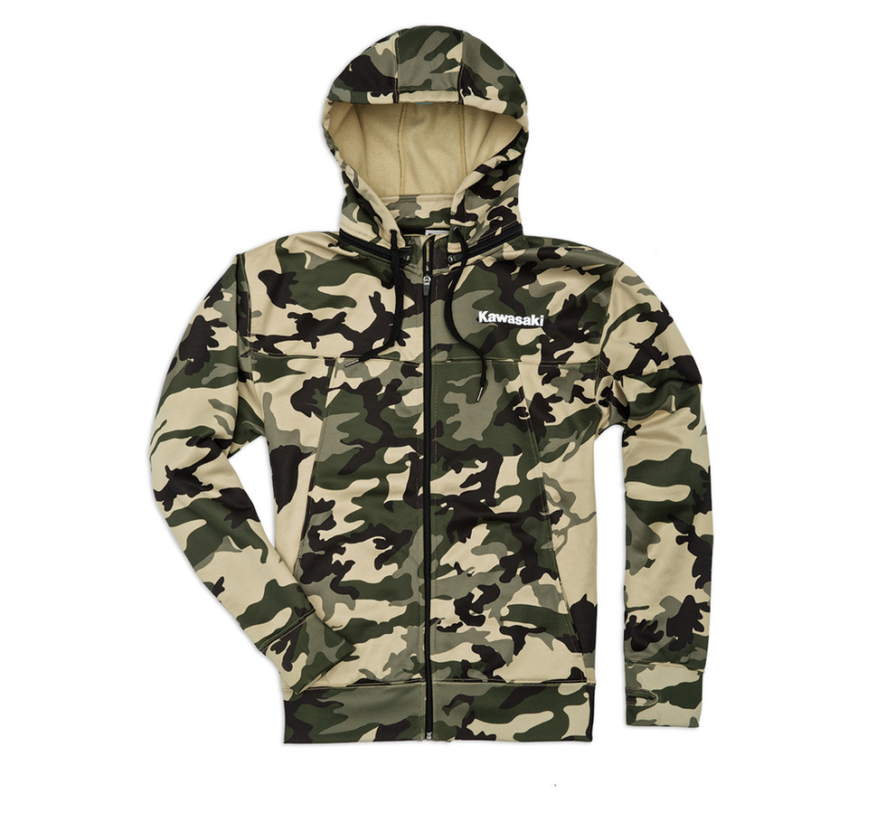 US KAWASAKI 北米カワサキ純正アクセサリー カジュアルウェア アーミーカモジップ フロントスウェットシャツ フード付き【Army Camo Zip-Front Hooded Sweatshirt】 SIZE:XL