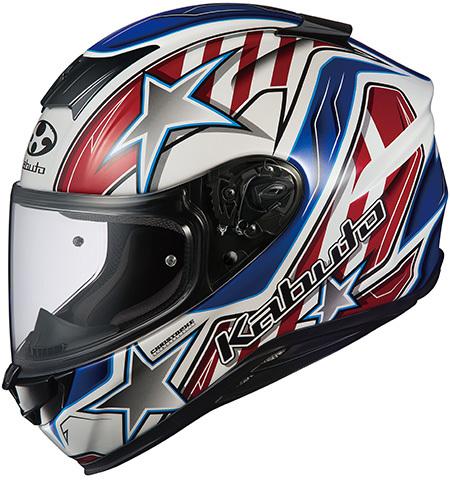 OGK KABUTO オージーケーカブト フルフェイスヘルメット AEROBLADE-5 VISION [エアロブレード・ファイブヴィジョン] ホワイトブルーレッド ヘルメット サイズ:S(55-56cm)