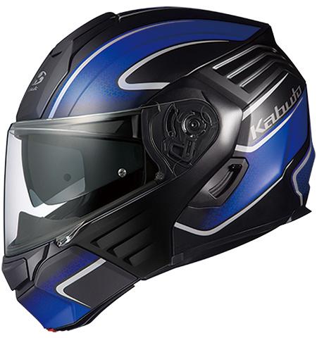 OGK KABUTO オージーケーカブト システムヘルメット KAZAMI [カザミ] XCEVA [エクセヴァ] フラットブラックブルー ヘルメット サイズ:L(59-60cm)