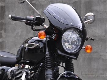 CHIC DESIGN シックデザイン ビキニカウル・バイザー ロードコメット カラー:ジェットブラック スクリーンカラー:クリア BONNEVILLE T120