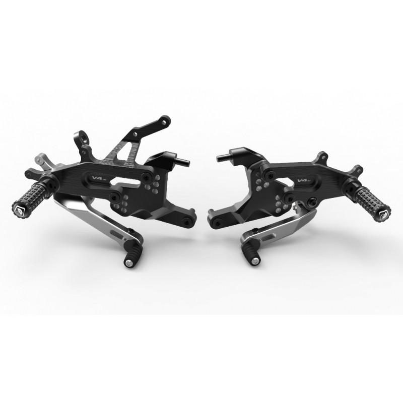 DUCABIKE ドゥカバイク パイロットアジャスタブルバックステップ カラー:ブラック/シルバー PANIGALE V4 PANIGALE V4 S