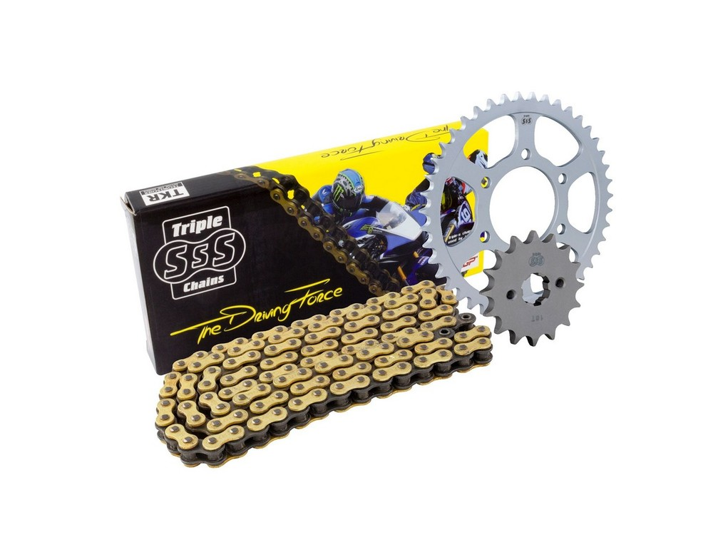 BIKE IT バイクイット スプロケット Suzuki GSX-R750 11 Chain & Sprocket Kit: 17T Front, 45T Rear, HD O-Ring Gold Chain 525H 116 Link
