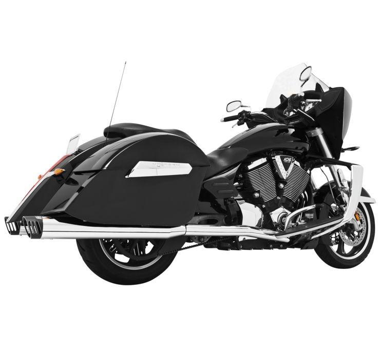 """フルエキゾーストマフラー 4"""" レーシングデュアル VICTORYモデル用 【4"""" Racing Duals for Victory Models】 Color:Chrome with Black Tips [473408]"""