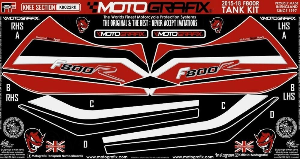 【ポイント5倍開催中!!】MOTOGRAFIX モトグラフィックス ステッカー・デカール ボディーパッド カラー:レッドwithホワイト、ブラック&メタリックシルバー F800R