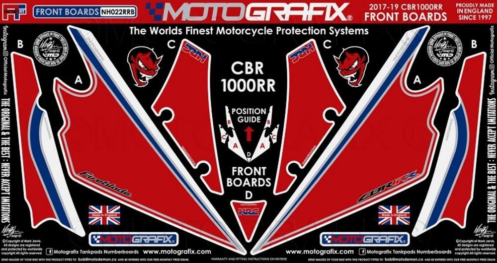 【ポイント5倍開催中!!】MOTOGRAFIX モトグラフィックス ステッカー・デカール ボディーパッド カラー:レッドwithホワイト、ブルー、ブラック&メタリックシルバー CBR1000RR