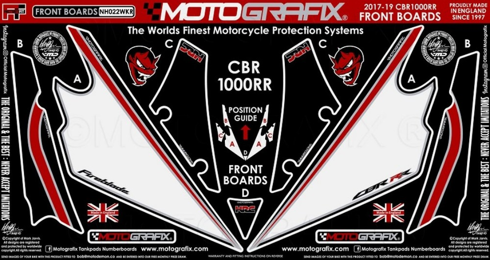 【ポイント5倍開催中!!】MOTOGRAFIX モトグラフィックス ステッカー・デカール ボディーパッド カラー:ブラックwithレッド、ホワイト&メタリックシルバー CBR1000RR