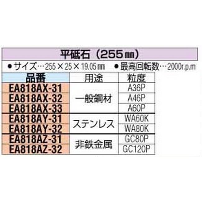 ESCO エスコ 工具 255x25x19.05[GC#120]平砥石