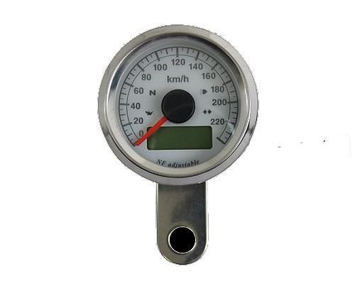 Neofactory ネオファクトリー 48mm インジケーター付きスピードメーター ボディ:ポリッシュステンレス 文字盤:ホワイト