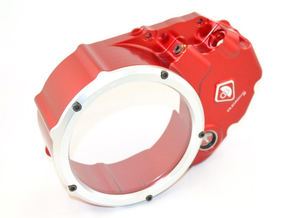 DUCABIKE ドゥカバイク その他エンジンパーツ クリアークラッチカバー (オイル・アクアリウム) カラー:レッド/シルバー