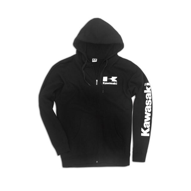 US KAWASAKI 北米カワサキ純正アクセサリー ロゴジップフロントフーディーズスウェットシャツ (Logo Zip-Front Hooded Sweatshirt)