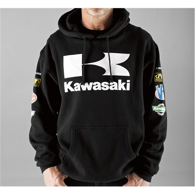 US KAWASAKI 北米カワサキ純正アクセサリー カジュアルウェア レース プルオーバー フーディースウェットシャツ (Race Pullover Hooded Sweatshirt) サイズ:3X