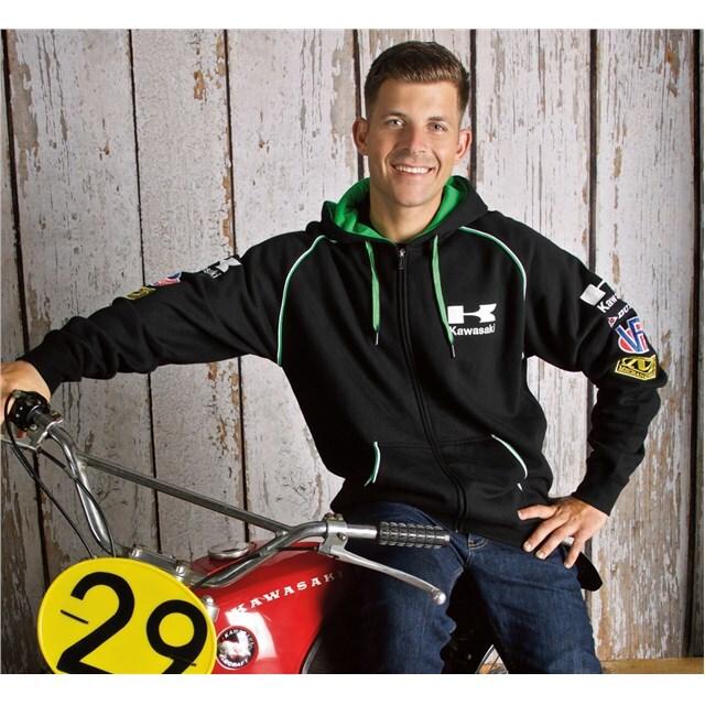 US KAWASAKI 北米カワサキ純正アクセサリー カジュアルウェア クラシックレースジップフロントフードスウェットシャツ (Classic Race Zip-Front Hooded Sweatshirt) サイズ:2X
