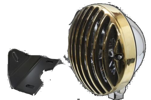ガレージT&F ヘッドライト本体・ライトリム/ケース 5.75インチバードゲージヘッドライト&ライトステーキット タイプG バードゲージカバー素材:真鍮製 ヘッドライト素材:スチール製メッキ仕上
