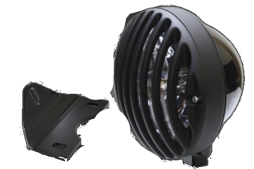 ガレージT&F ヘッドライト本体・ライトリム/ケース 5.75インチバードゲージヘッドライト&ライトステーキット タイプG バードゲージカバー素材:アルミ製ブラック仕上げ ヘッドライト素材:スチール製ブラック仕上