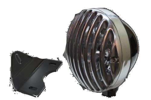 ガレージT&F ヘッドライト本体・ライトリム/ケース 5.75インチバードゲージヘッドライト&ライトステーキット タイプG バードゲージカバー素材:アルミ製ポリッシュ仕上げ ヘッドライト素材:スチール製ブラック仕上