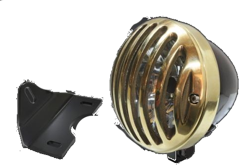 ガレージT&F ヘッドライト本体・ライトリム/ケース 4.5インチバードゲージヘッドライト&ライトステーキット タイプG バードゲージカバー素材:真鍮製 ヘッドライト素材:スチール製ブラック仕上