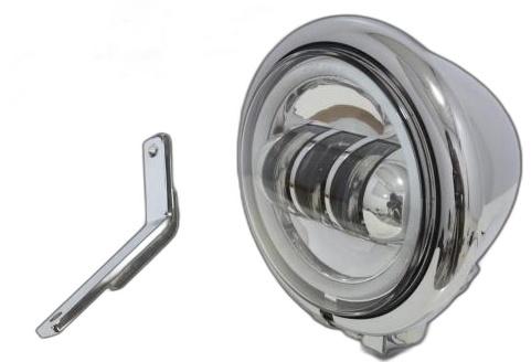 ガレージT&F ヘッドライト本体・ライトリム/ケース 4.5インチベーツライトプロジェクターLED仕様 &ライトステー(タイプD)キット カラー:メッキ タイプ:リング付き スティード400