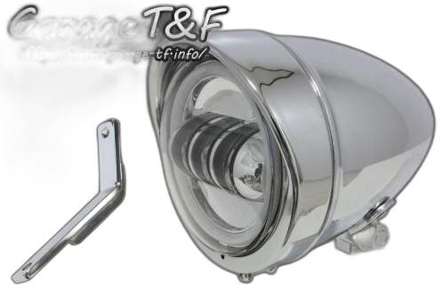 ガレージT&F ヘッドライト本体・ライトリム/ケース 4.5インチロケットライトプロジェクターLED仕様&ライトステー(タイプD)キット カラー:メッキ タイプ:リング付き スティード400